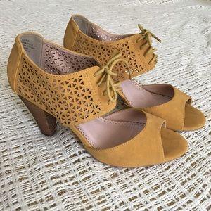 NWOB Mustard heels by Restricted